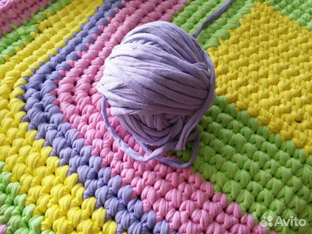 Трикотажные нитки для вязания ковриков цена 72