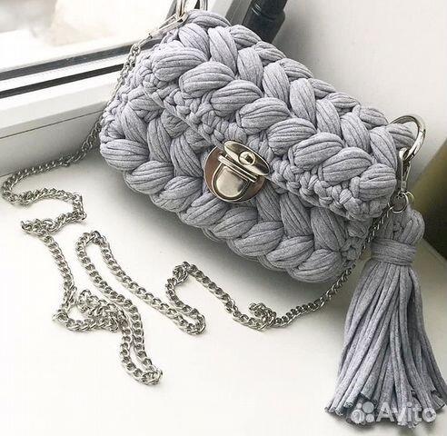 вязанная сумка зефирка из трикотажной пряжи Festimaru