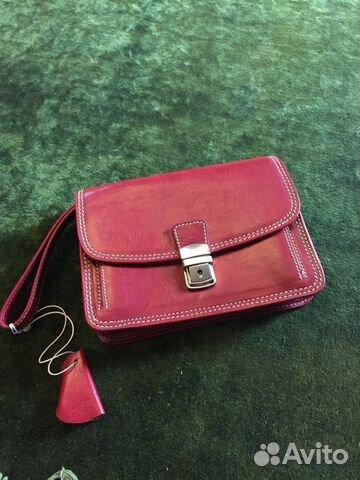 7b568463d666 Новая женская кожаная сумка - барсетка красная купить в Москве на ...