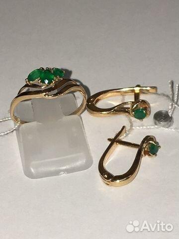 16f6d6eab20d Серьги и кольцо 585 пр с зелёными агатами купить в Самарской области ...