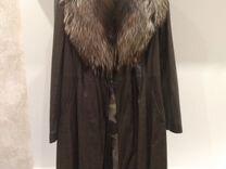 Пальто кожаное - плащ с съемным меховым воротником