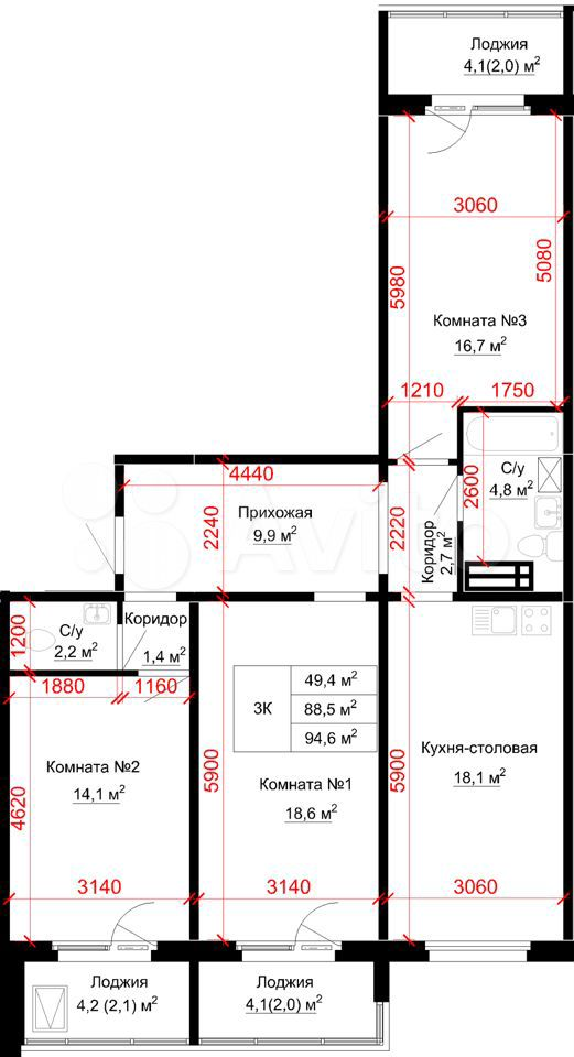 3-к квартира, 94.6 м², 12/16 эт.  89833802644 купить 1